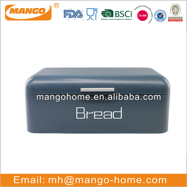 Square Small Size Iron Steel Biscuit Box Powder Coating Bread Box for Kitchen Bread Bin Storage Container Box