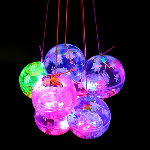 2017 new flash crystal ball wholesale children rope LED toys hot stamping elastic ball