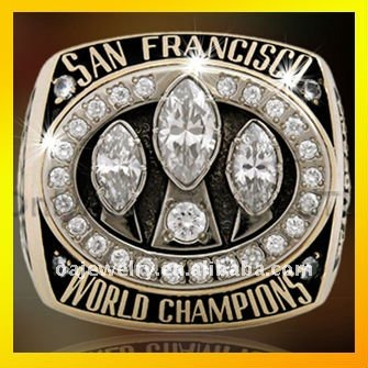 nickle free sterling silver champion ring 3D design ring custom 49ers championship rings