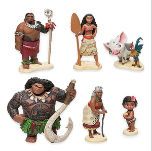 Princess Moana cartoon model 6pcs/set Moana Maui Waialik Chief Tui small plastic toy figures Collectible Model Toy
