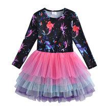 Платье с длинным рукавом VIKITA для девочек, детское платье с блестками для вечеринок, детские платья с цветами в виде единорога для девочек(Китай)