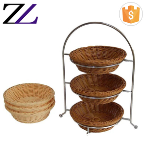 Buffet hotel catering equipment Zhuolin commercial rising rattan wicker fruit bread basket