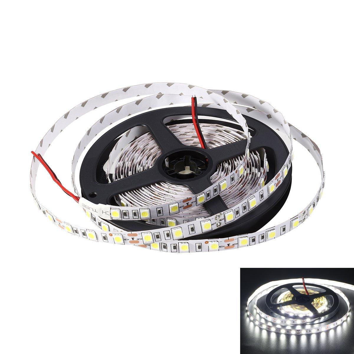 LEDMOMO LED Light Strip, 5M Non-Waterproof Flexible DC 24V 300 SMD 5050 LED Strip Lights Lamp (Pure White)