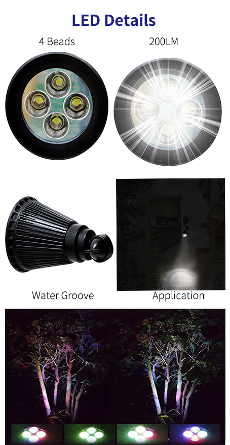 Long Working Time Fully Adjustable Waterproof House Garden Using 4 LED Beads 200Lumen Solar Outdoor Spotlight