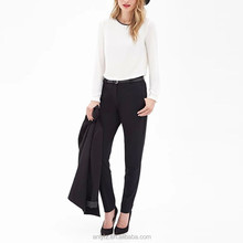 100% polyester fancy medium-waist small straight ladies office pants trousers cutting