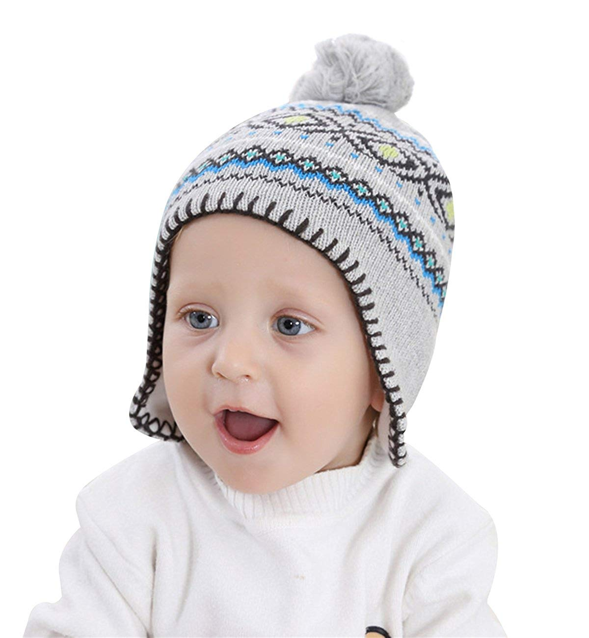 81bf507bf57 SUMOLUX Soft Warm Earflap Hood Beanie Hat for Boys Girls Knitted Pom Winter  Hats