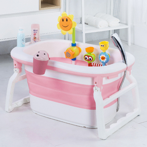 China supplier Amazon hot sale heat holding cover plastic multi-functional foldable infant baby bath tub with stand