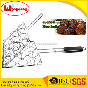 China professional Charcoal BBQ Meatball grilling Basket