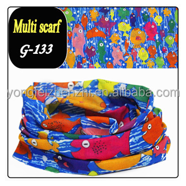 colorful cute fishes design soft elastic seamless multi scarf for children