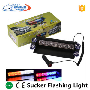 Hot Sale Car Police Strobe Warning Light 8 Led Auto Dash Emergency Beacon Flashing Lamp Sucker On Windshield DC12V
