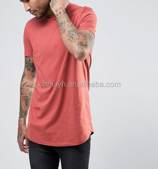 Wholesale high quality t shirt Pure Cotton 180G Red Longline Plain Tshirt For Men sublimation printing t shirts