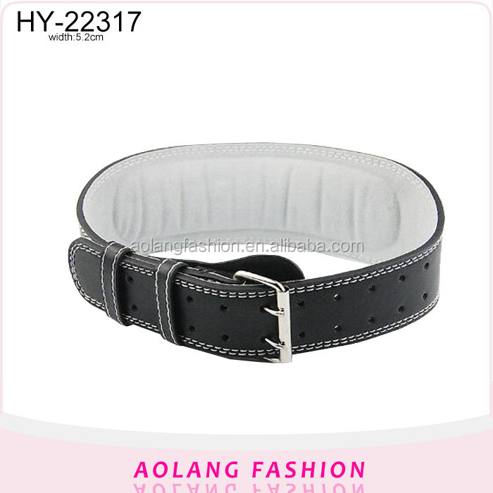 Leather Weight lifting belt with double pin buckle wide black pu belt