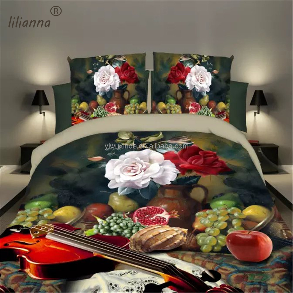 LILIANNA hot sale fruit and flower design 3d bedding sets luxury king size bedding sets