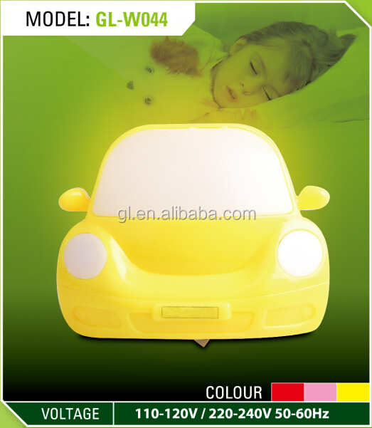 OEM 0.6W and 110V or 220V W044 toy car shape 4 SMD Indoor night lamp plug in night light Electric LED switch kids night light