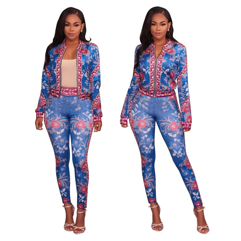 2018 new arrivals party clubwear jacket and pants tracksuits for women