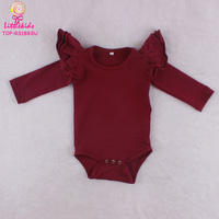 Three Layers Flutter Long Sleeve Baby Boy And Girl Romper Bodysuits 2017 Wholesale Custom Blank Newborn Wine Romper 0-24M