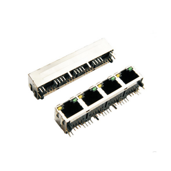 1x4 port rj45 led connector with 90 degree