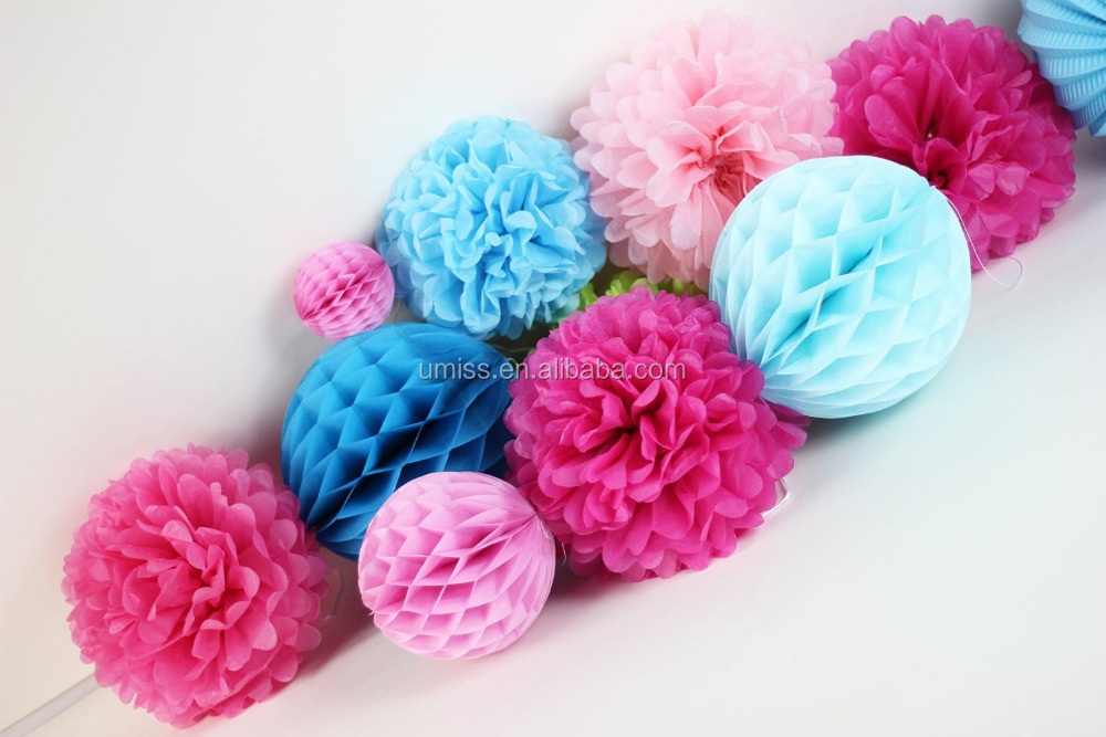 Pack of 11 Fuchsia Pink Blue Paper Lanterns Pom Poms Flowers to decorate Wedding Birthday Valentine Party Nursery
