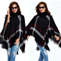 Wholesale Girls Fashion Warm Poncho Wraps Black Classic Kashmir Knitting Winter Turtleneck Sweater