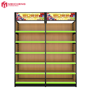 wholesale adjustable standard store wooden wall shelf for goods display, wooden book shelf supermarket with price label