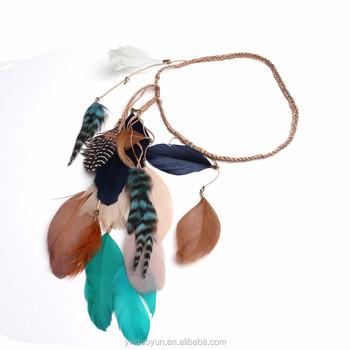 Handmade Desert Child Hippie Perfect Twist Tribal Native American Feather Boho Hair Band