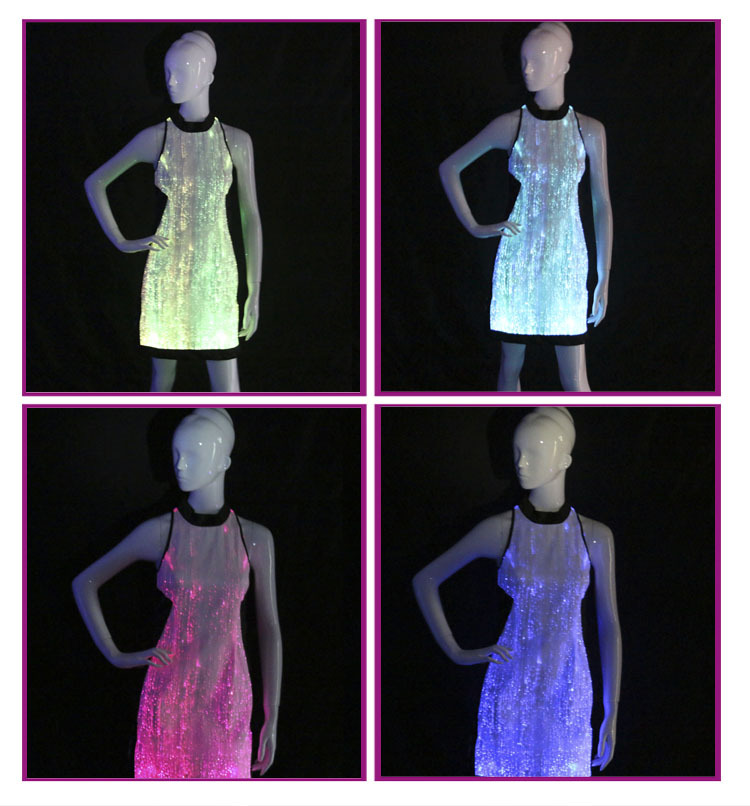 b3300a0e72f Light Up Evening Dress Glow-in-the-dark Wedding Dress Luminous Fiber Optic