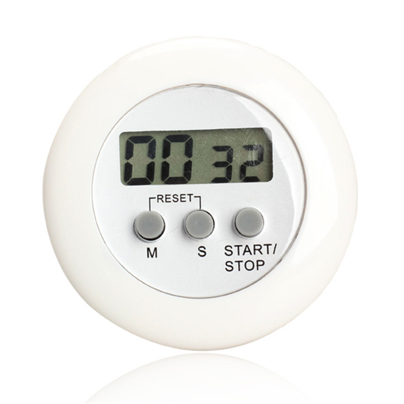 Digital Alarm Clock Free Shipping Round Magnetic LCD Digital Kitchen Countdown Timer Alarm With Stand White