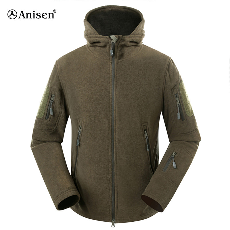 army green mens outdoor technical thick fleece jacket