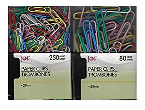 """Assorted FUN COLORS Vinyl Coated Metal Paper Clips Contains 250 Small 28mm (1.10"""") Width & 80 Jumbo 50mm (1.97"""") Width Paper Clips For Coding & Organizing Paper & Documents"""