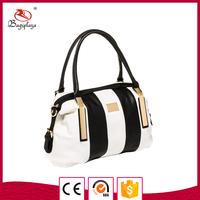 Alibaba china splicing designer bag top zipper boston bag for women handbag
