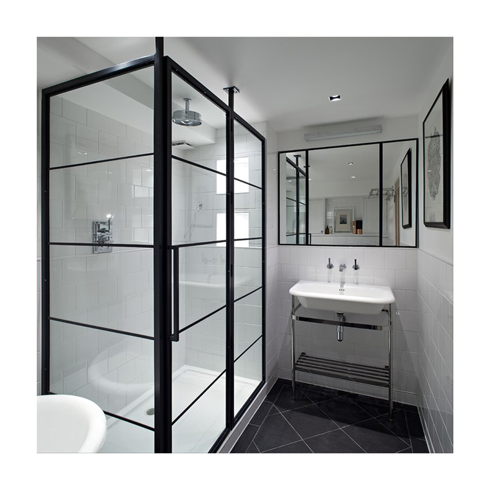 Latest Modern Grilled Steel Frosted Glass Bathroom Window Door