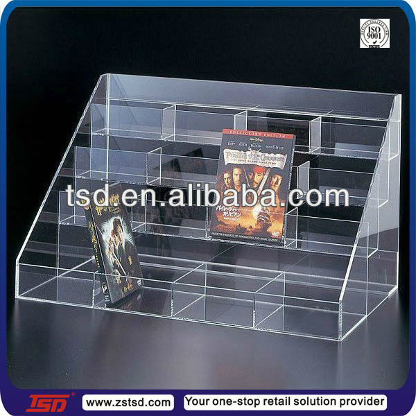 TSD A354 Custom Store Counter Top 4 Tier Acrylic Dvd Display Stand,cd Holder