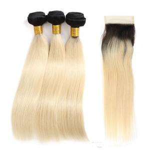 Wholesale ombre human hair extensions #1B/613 blonde virgin brazilian hair bundles with lace closure slik straight hair weave