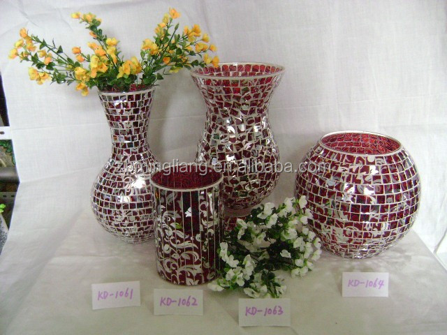 mosaic glass vase and candle holder with Electroplating patern