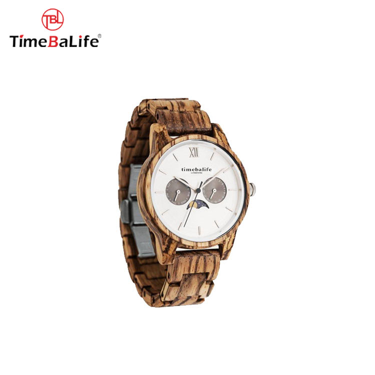 Low MOQ Men Modern Stylish Chronograph Moon Phase Wood Watch