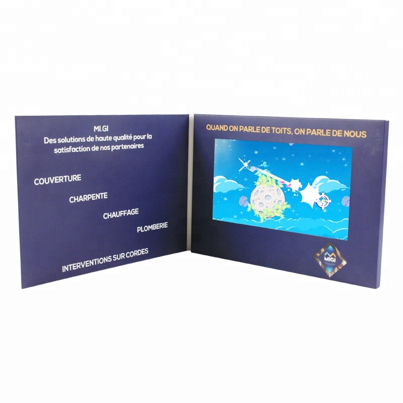"7"" lcd video greeting cards gift, lcd/ips video player brochure with led light"
