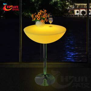 High top foldable lift cocktail LED lighted bar table