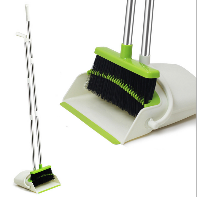 Manufacturer wholesale Durable Material 3 In1Sweeping Tooth Stick Magic Folding Metal Plastic Broom and Dustpan Set Of Standing