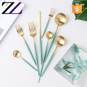 Best flatware brands eco-friendly 18/10 green gold stainless steel flatware silverware set italian flatware