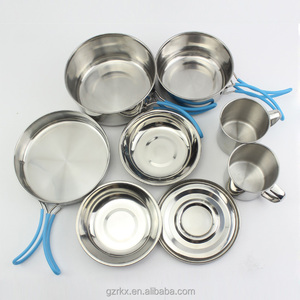 Good Quality Small Stainless Steel Pot Pans Camping Cook Set For Picnic,Travel Cooking Set
