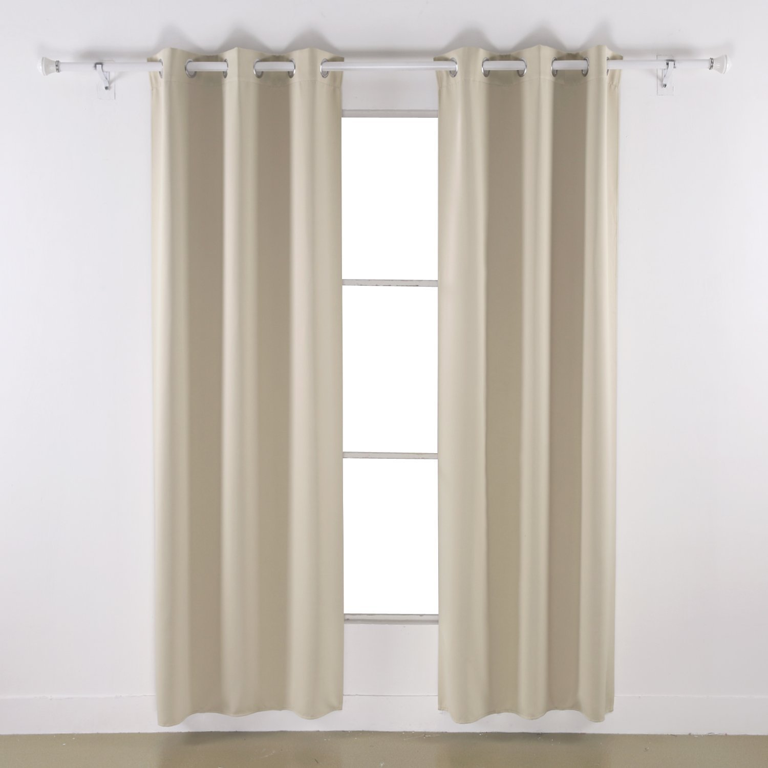 "Angel Solid Grommet Blackout Panel Curtain Thermal - All Sizes (108"" Extra Long, beige)"