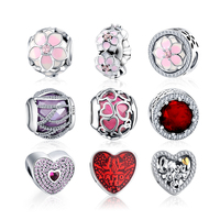LZESHINE Authentic 925 Sterling Silver European Blooms Charms Pink Enamel Flower Micro Pave Clear CZ Pendant PSMB0624