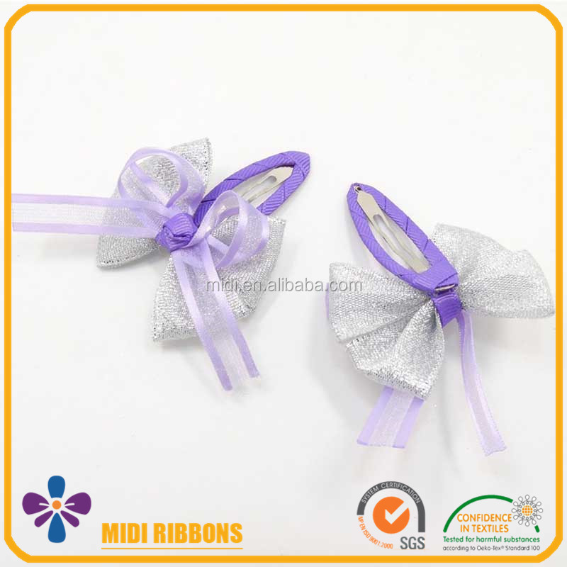 Lurex Silver Ribbon Bow Baby Girl Mini Purple Butterfly Metal Snap Clip Water Drop Hair Clip