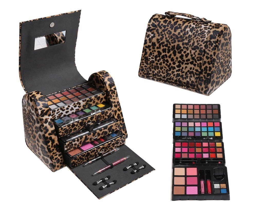 Cameo Cosmetics 86pc Premium Make Up Set with Reusable Brown Leopard Bag - Eye Shadows, Lip Colors, Lip Balms, Face Powders, Blushes, Lip Sticks, Lip Glosses, Pencils, Brush, Applicators
