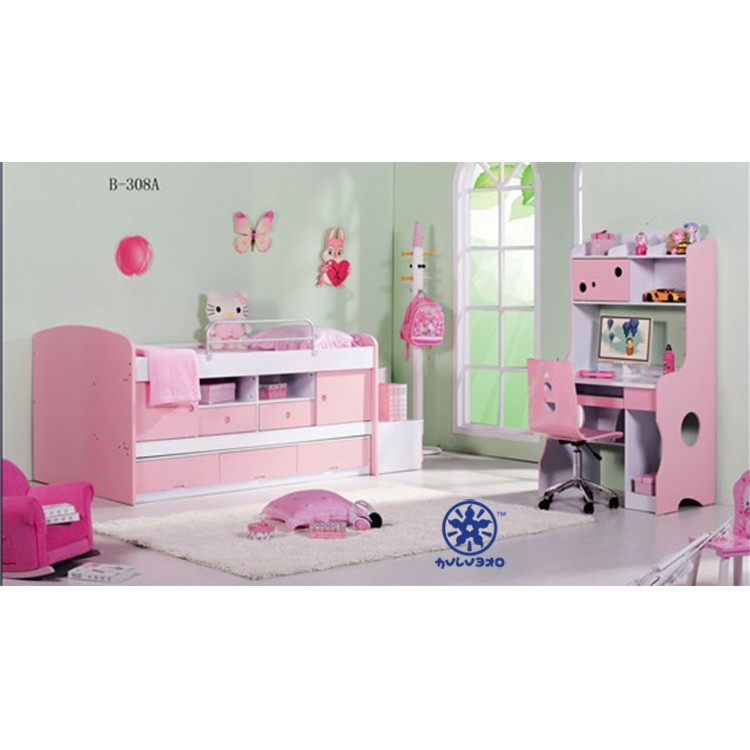 Hot Sale High Quality And Pink Bunk Bed Children Furniture Bunk Bed