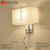 Stainless Steel Wall Lamp With Rectangle Fabric Shade Led Reading Lights for Hotel Guest Room Bedside Wall Lamp with Usb Charge