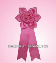 2013 pink polyester rosette ribbon brooch