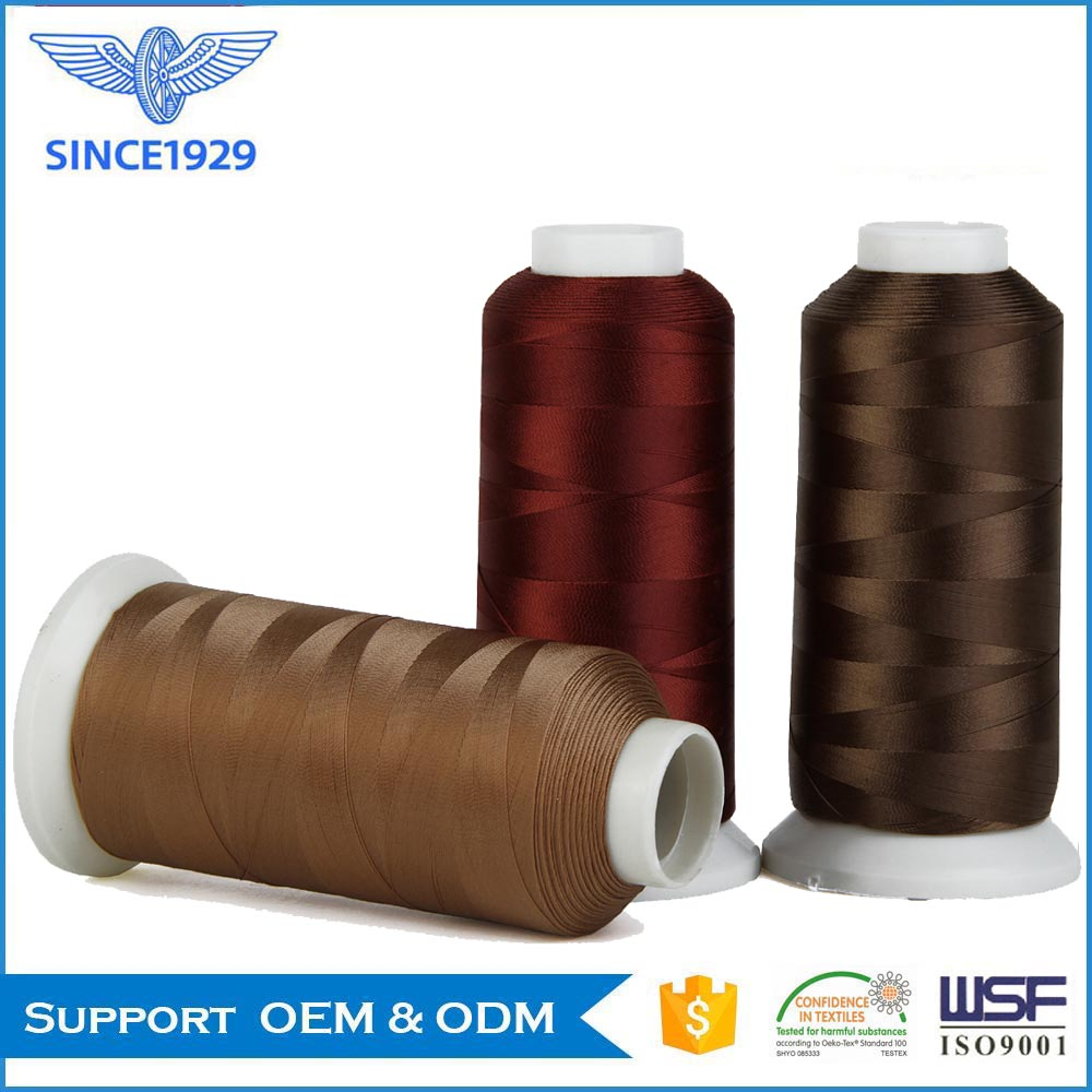 Polyester continuous filament sewing thread for shoe making