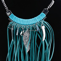 Wholesale Glass Beads Alloy Leaf Pendant Necklace With Korea Rope Tassel