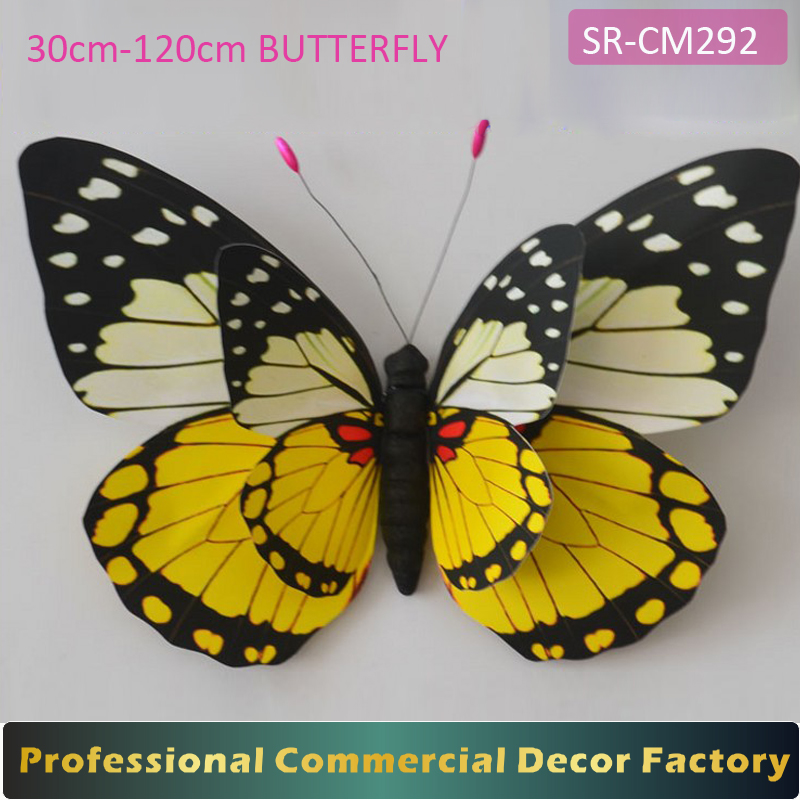 Custom commercial 30-120cm double sided large hanging butterfly for shopping mall atrium decoration
